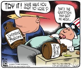 Political Cartoon U.S. Trump endorses invalid coronavirus medication Americans suffer CDC not approved