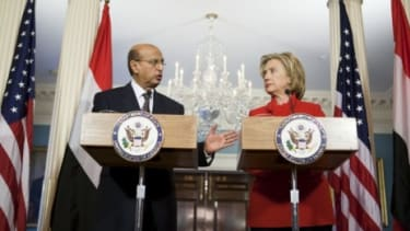 U.S. Secretary of State Hillary Clinton meets with Abubakr al-Qirbi, the Foreign Minister of Yemen.
