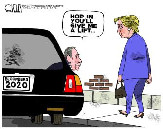 Political Cartoon U.S. Bloomberg Clinton running mate lift 2020 election