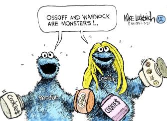 Political Cartoon U.S. Perdue Loeffler cookie monster