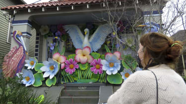 A house decorated for Mardi Gras in New Orleans.