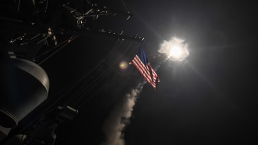 A Tomahawk missile launches in the Mediterranean Sea