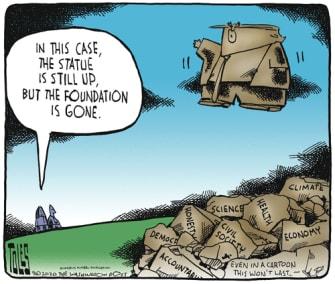Political Cartoon U.S. Trump foundation statue