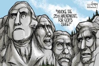 Political Cartoon U.S. Trump 25th amendment Capitol riot mount rushmore