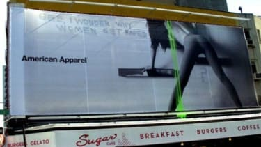 An American Apparel billboard that seemed to promote rape provoked commentary in 2007.