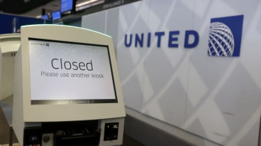 A closed United Airlines kiosk.