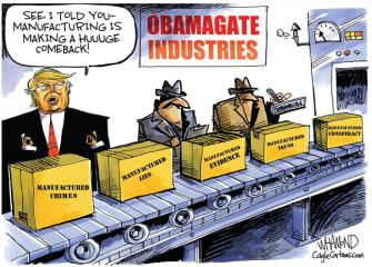 Political Cartoon U.S. Trump obamagate manufacturing lies
