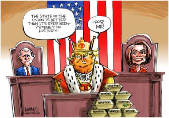 Political Cartoon U.S. King Trump Mike Pence Nancy Pelosi SOTU impeachment whoppers