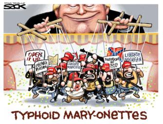 Political Cartoon U.S. Trump coronavirus lockdown protests