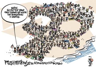 Editorial Cartoon U.S. beach crowds coronavirus