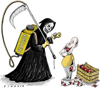 Editorial Cartoon U.S. Pesticides food grim reaper