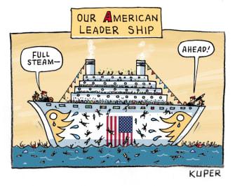 Political Cartoon U.S. Trump leadership coronavirus