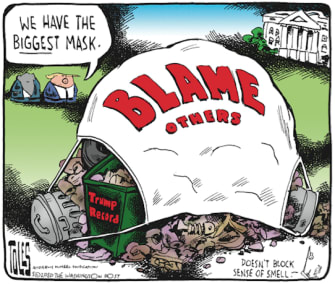 Political Cartoon U.S. Trump mask coronavirus