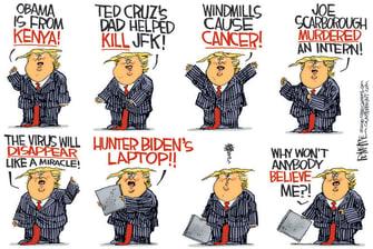 Political Cartoon U.S. Trump conspiracies