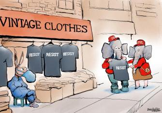 Political Cartoon U.S. GOP Democrats resist Trump Biden