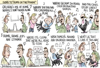 Editorial Cartoon U.S. home on the Range song social distancing stress