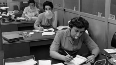 Secretaries in the office of Topps Chewing Gum Factory in Brooklyn, New York, 1960.
