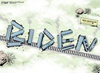 Political Cartoon U.S. Joe Biden Iowa Caucuses New Hampshire primary train wreck 2020 election