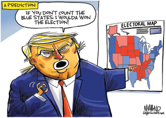 Political Cartoon U.S. Trump 2020 election blue states