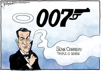 Editorial Cartoon U.S. Sean Connery James Bond 007 RIP