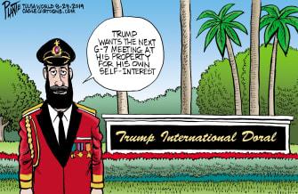Political Cartoon U.S. Captain Obvious Trump International Doral G7 Summit