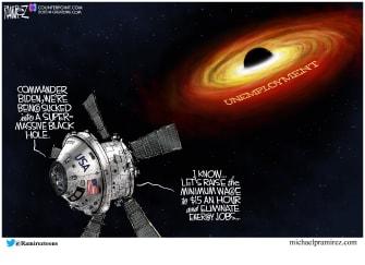 Political Cartoon U.S. biden unemployment minimum wage