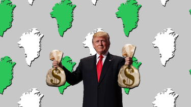 President Trump holding two bags of money to buy Greenland.