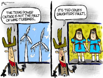 Political Cartoon U.S. texas power outage ted cruz daughters the shining