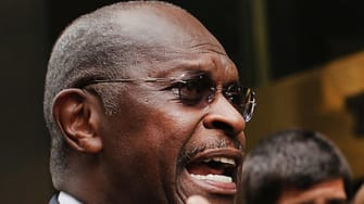 Herman Cain outside of Trump Tower.