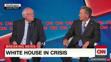 Bernie Sanders and John Kasich argue over Donald Trump