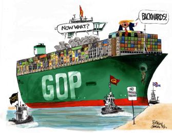 Political Cartoon U.S. trump gop suez canal