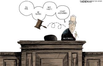 Political Cartoon U.S. Mitch McConnell Trump Speedy Impeachment Trial Not Guilty