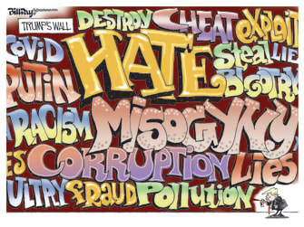 Political Cartoon U.S. Trump wall