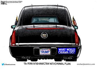 Political Cartoon U.S. Iran Afghanistan Trump Obama