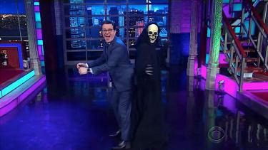 Death dances with Stephen Colbert