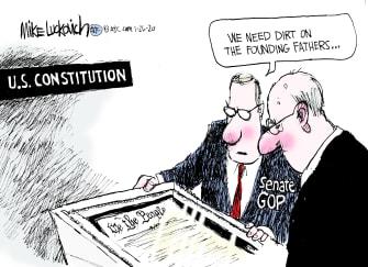 Political Cartoon U.S. GOP impeachment senate trial U.S. Constitution founding fathers