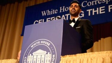 Host, comedian Hasan Minhaj speaks on stage during 2017 White House Correspondents' Association Dinner