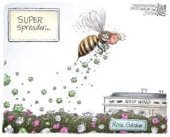 Political Cartoon U.S. Trump super spreader COVID