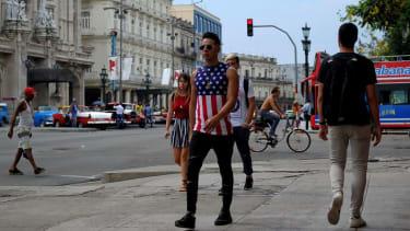 A Cuban wears an American flag shirt in Havana