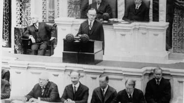 Calvin Coolidge addressing Congress in 1923.