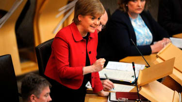 Scotland's First Minister Nicola Sturgeon speaks in the chamber on the second day of the 'Scotland's Choice' debate on a motion to seek the authority to hold an indpendence referendum, at the