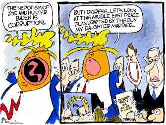 Political Cartoon U.S. Trump Biden corruption Middle East Peace