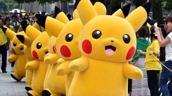 Pikachu characters perform outside of a mall near Tokyo.