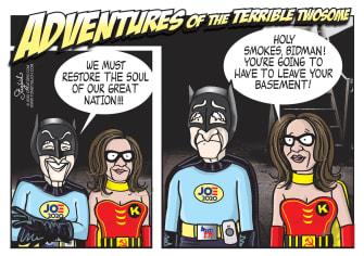 Political Cartoon U.S. Biden Harris 2020 Batman Robin