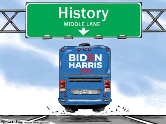 Political Cartoon U.S. Kamala Harris Joe Biden Middle Road Moderate Democrats Vice President