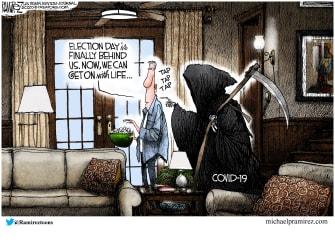 Editorial Cartoon U.S. election COVID