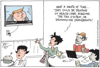 Political Cartoon U.S. Donald Trump impeachment Trump supporters immigration healthcare taxes
