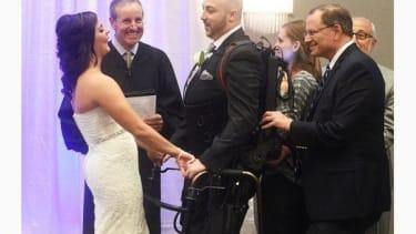 Robotic exoskeleton allows paralyzed man to walk down the aisle at his wedding