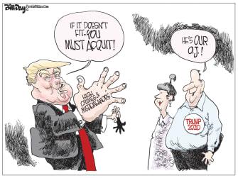 Political Cartoon U.S. Trump OJ Simpson GOP