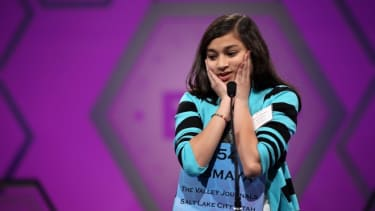 Spelling Bee contestant Vismaya Jui Kharkar of Utah tries to spell her word during the 6th round of last year's competition.